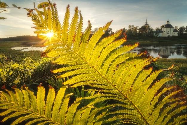 Pôr do sol sobre o lago