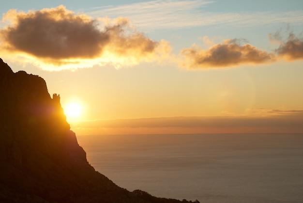 Pôr do sol sobre o mar com céu vermelho, sol, nuvens e montanha