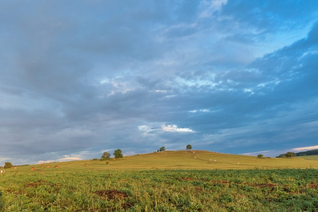 Pôr do sol sobre os campos