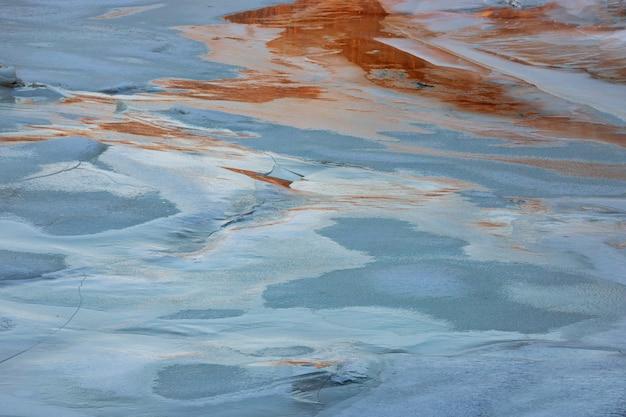 Pôr do sol, tiro, de, congelado, rio, paisagem gelo, travar, ligado, lago congelado, pôr do sol, em, inverno