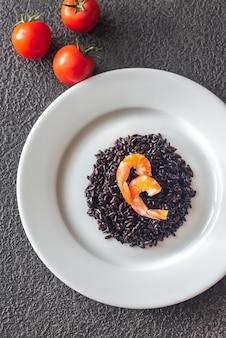 Porção de arroz preto