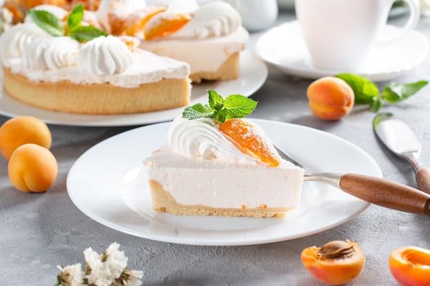 Porção de bolo de queijo em camadas com damasco sobre fundo claro. torta de damasco. torta de frutas. pastelaria francesa.