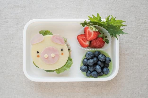 Porco bonito lancheira, divertido arte de comida para crianças, ano de comida de porco