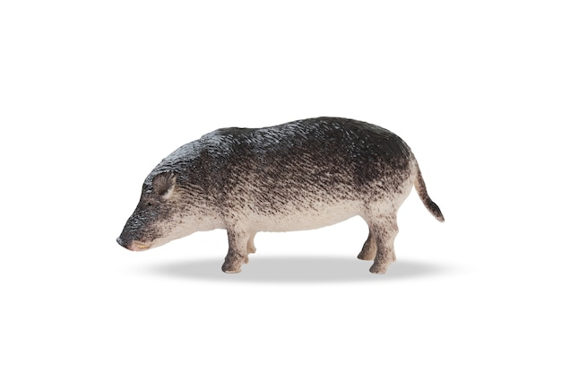 Porco de brinquedo de plástico marrom cinza isolado no fundo branco