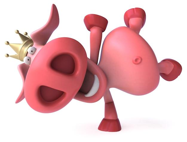 Porco engraçado com ilustração 3d de coroa