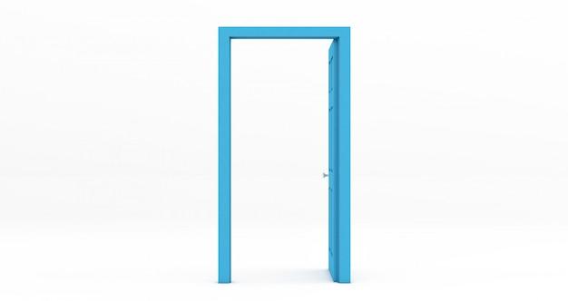 Porta aberta azul isolada no branco