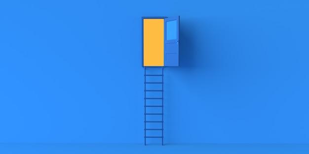 Porta aberta com escadas. copie o espaço. ilustração 3d.