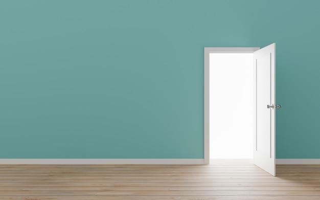 Porta aberta com ilustração 3d de parede azul