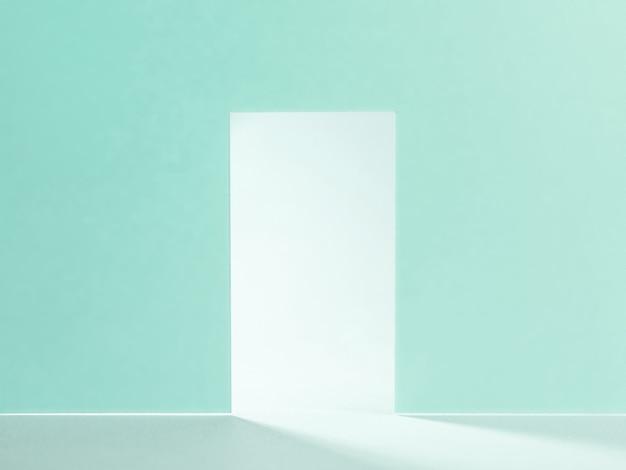 Porta aberta com parede azul claro brilhante