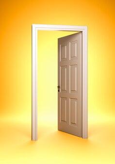 Porta aberta e batente da porta