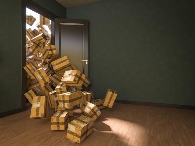 Porta aberta e muitos pacotes caindo dentro do apartamento. renderização 3d. conceito de compras online