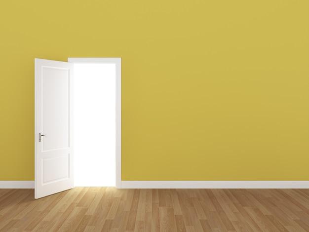 Porta aberta na parede amarela 3d