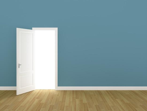 Porta aberta na parede azul 3d