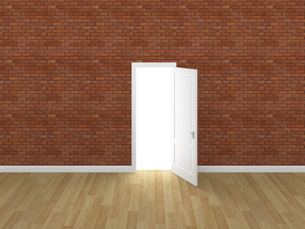 Porta aberta na parede de tijolos 3d