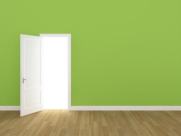 Porta aberta na parede verde limão 3d