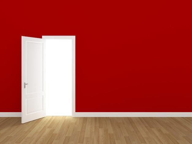 Porta aberta na parede vermelha 3d
