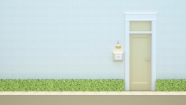 Porta amarela na renderização de fundo-3d de tijolo branco