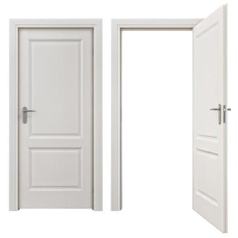 Porta branca aberta abstrata