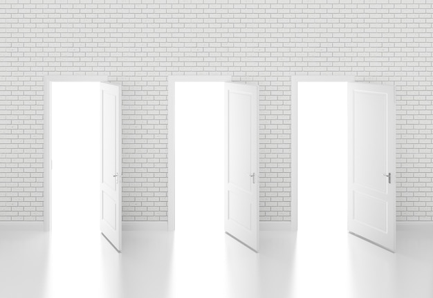 Porta branca aberta na parede branca 3d