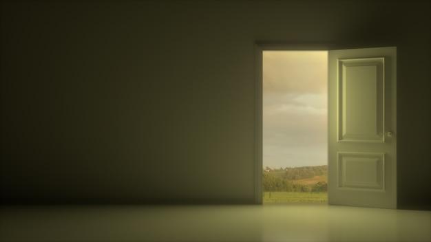 Porta branca aberta para revelar um lindo céu nublado e campo em uma sala cinza escura