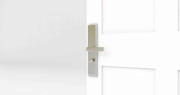 Porta branca aberta. quarto com porta aberta