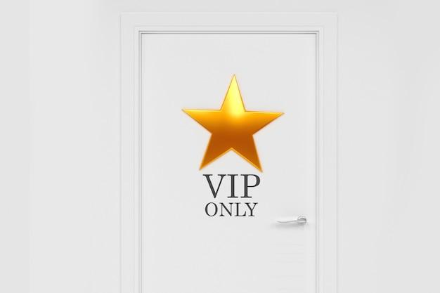 Porta branca com uma estrela de ouro. arte conceitual sobre o tema da celebridade