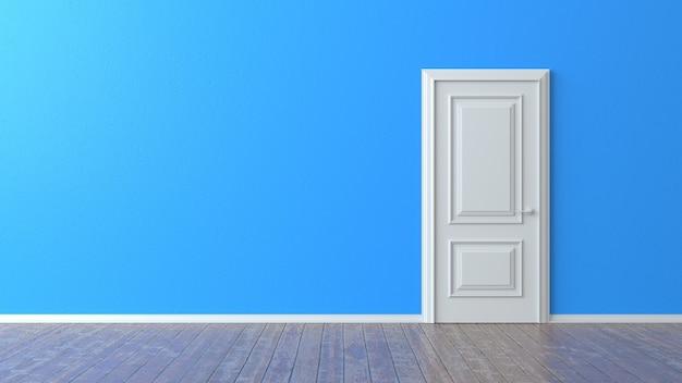 Porta branca fechada na parede azul