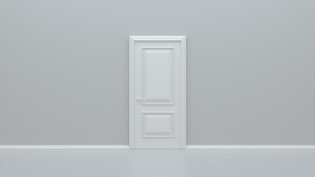 Porta branca fechada na parede branca