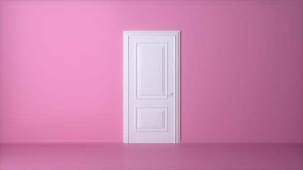 Porta branca fechada na parede rosa