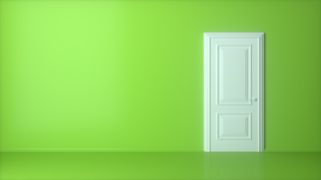 Porta branca fechada na parede verde