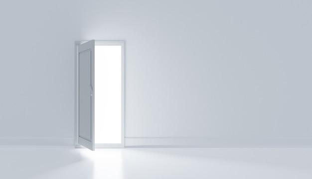 Porta branca realista com luz e sala branca, renderização de ilustrações 3d
