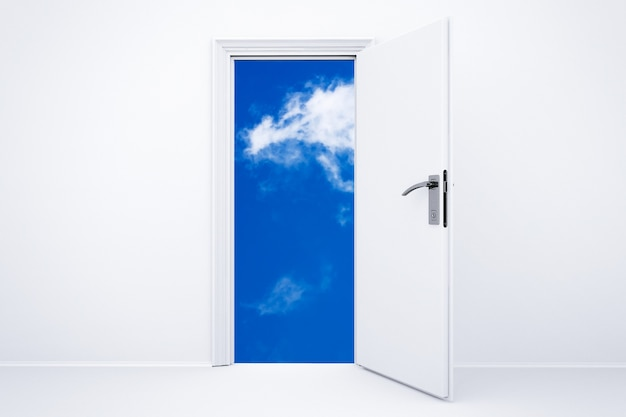 Porta branca renderizada em 3d aberta com céu nublado