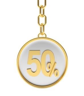 Porta-chaves dourado com desconto percentual