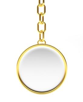 Porta-chaves dourado redondo em branco