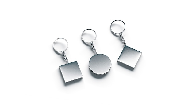 Porta-chaves em branco prata lado conjunto vista