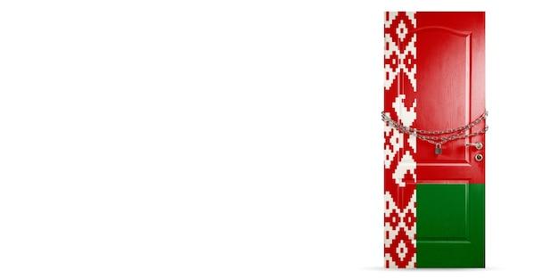 Porta colorida com bandeira da bielorrússia trancada com cadeia de países trancados durante a invasão do coronavírus