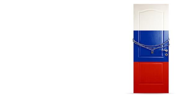 Porta colorida na bandeira nacional da rússia bloqueada com corrente bloqueio de países durante o coronavírus