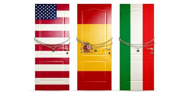 Porta colorida nas bandeiras nacionais dos eua, espanha, itália, travando com corrente. bloqueio de países durante o coronavírus, disseminação de covid. conceito de medicina e saúde. epidemia mundial, quarentena.