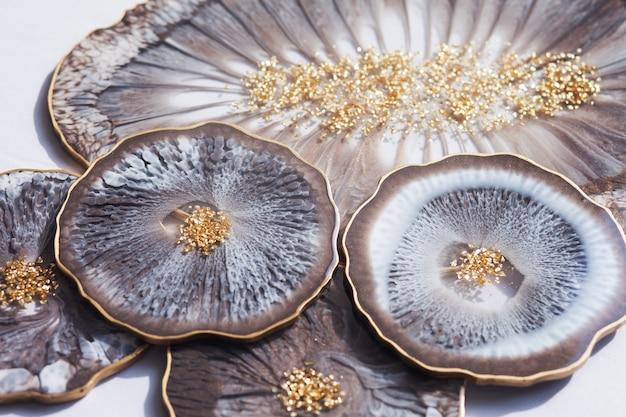 Porta-copos, bandeja de resina epóxi, corte de pedra estilo marinho