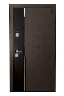 Porta de entrada frontal fechada de madeira ou metal marrom para saída em fundo branco isolada