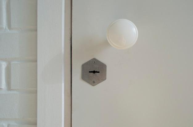 Porta de madeira branca fechada com fechadura e maçaneta.