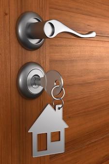 Porta de madeira com chave. ilustração 3d