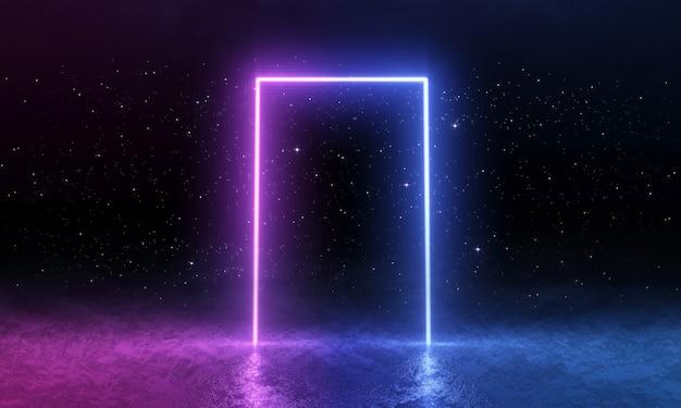 Porta de néon rosa azul, espaço vazio