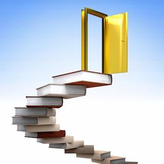 Porta de ouro e livros