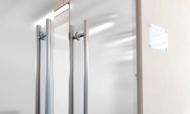 Porta de vidro em branco com alças de metal