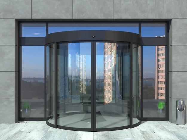 Porta de vidro redonda parcial