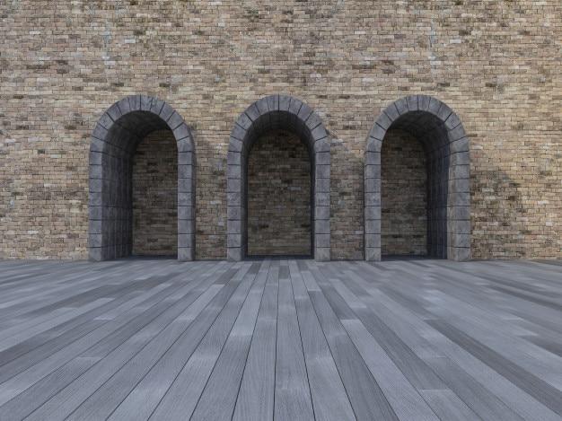 Porta do arco de pedra 3d
