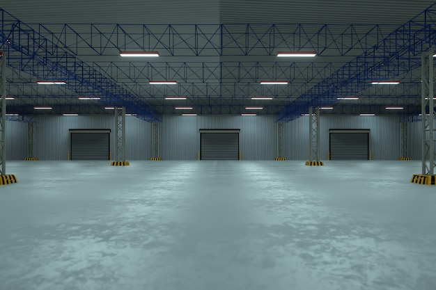 Porta do obturador do rolo e piso de concreto fora do edifício da fábrica para o fundo da indústria