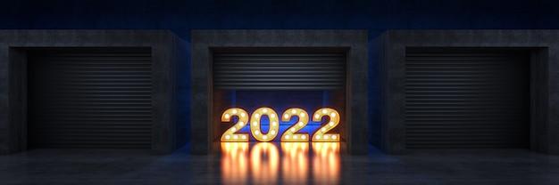 Porta do obturador ou letreiro de porta de enrolar luz sinal de carta 2022 ano novo 2022 renderização em 3d