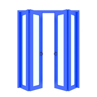 Porta dobrável azul com grade 3d